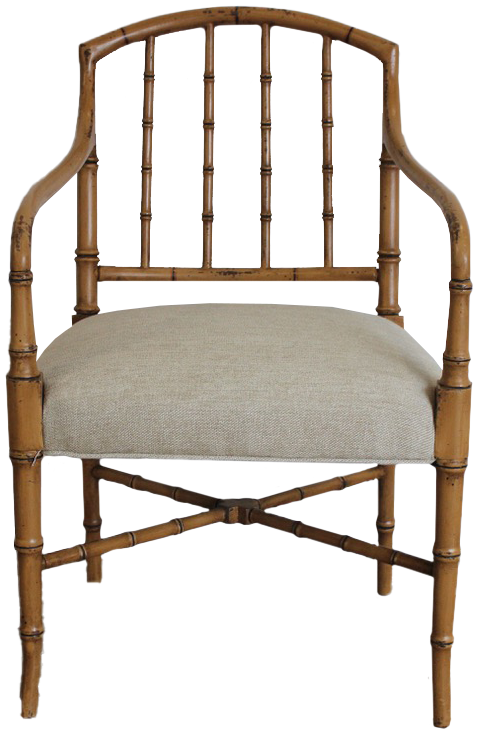 Pair of 1970s Faux Bamboo Painted Armchairs