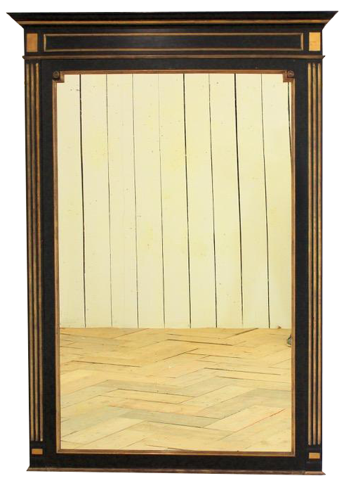 1920s French Ebonised Mirror with Brass Mounts
