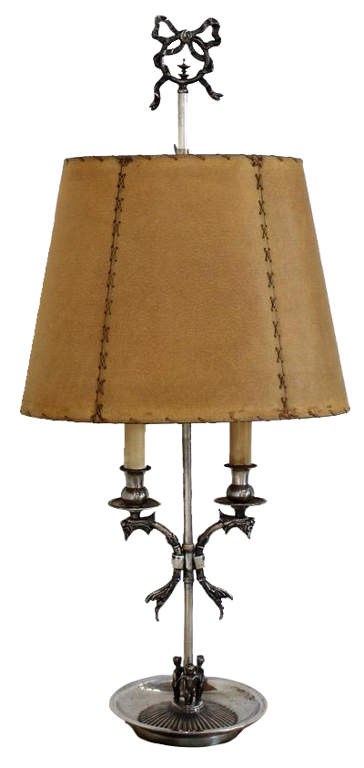 1960s Spanish Silver plated Table Lamp with Original Vellum Shade