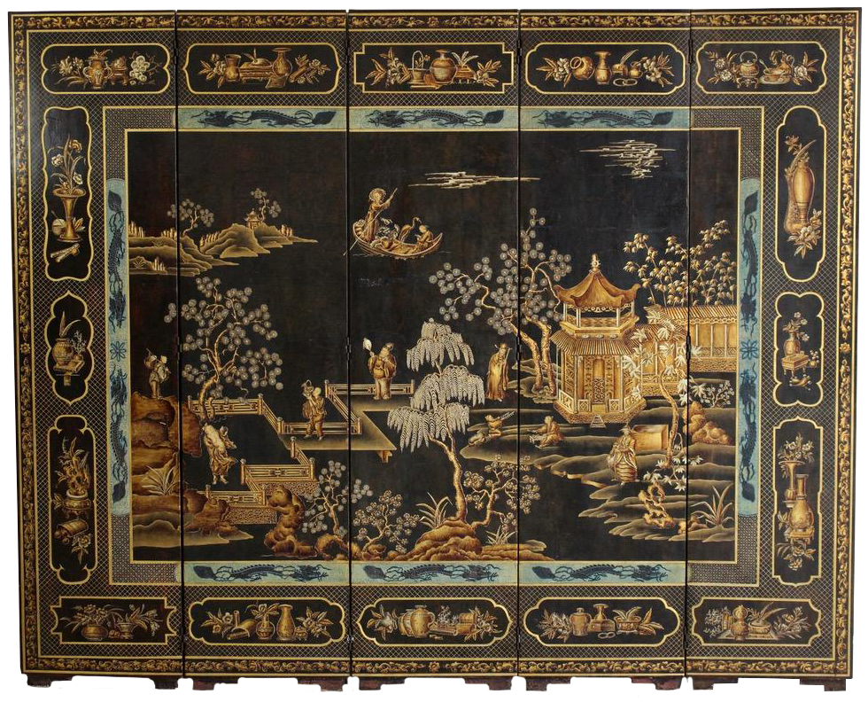 1970s Five leaf Chinoiserie Folding Screen