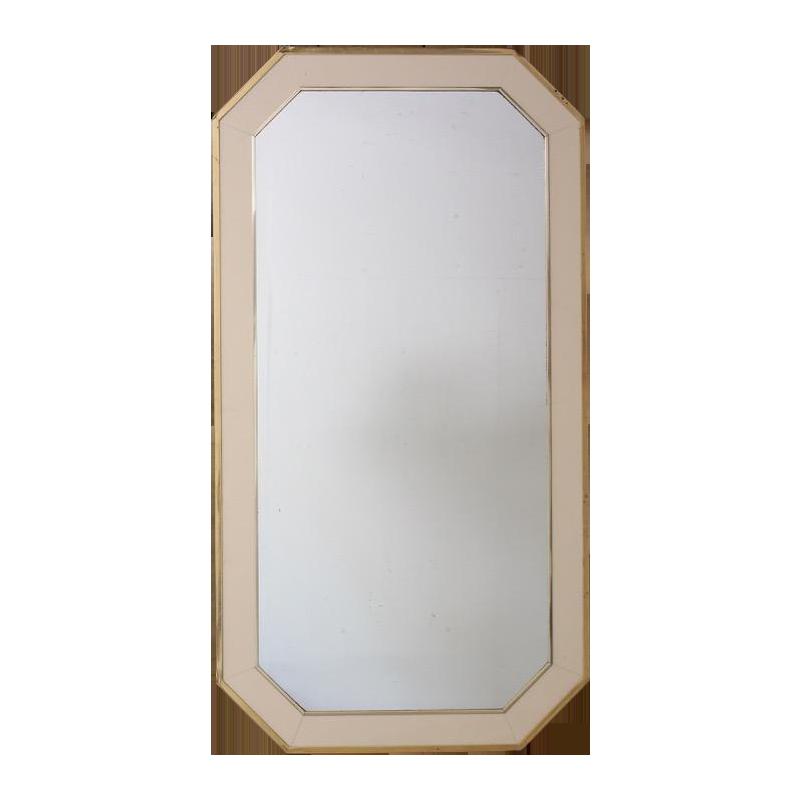 1970s French Cream Perspex & Brass Mirror