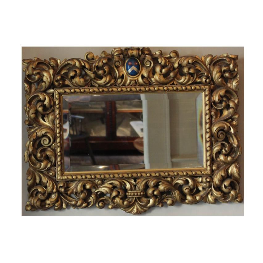 19th century Gilt wood mirror with Crest