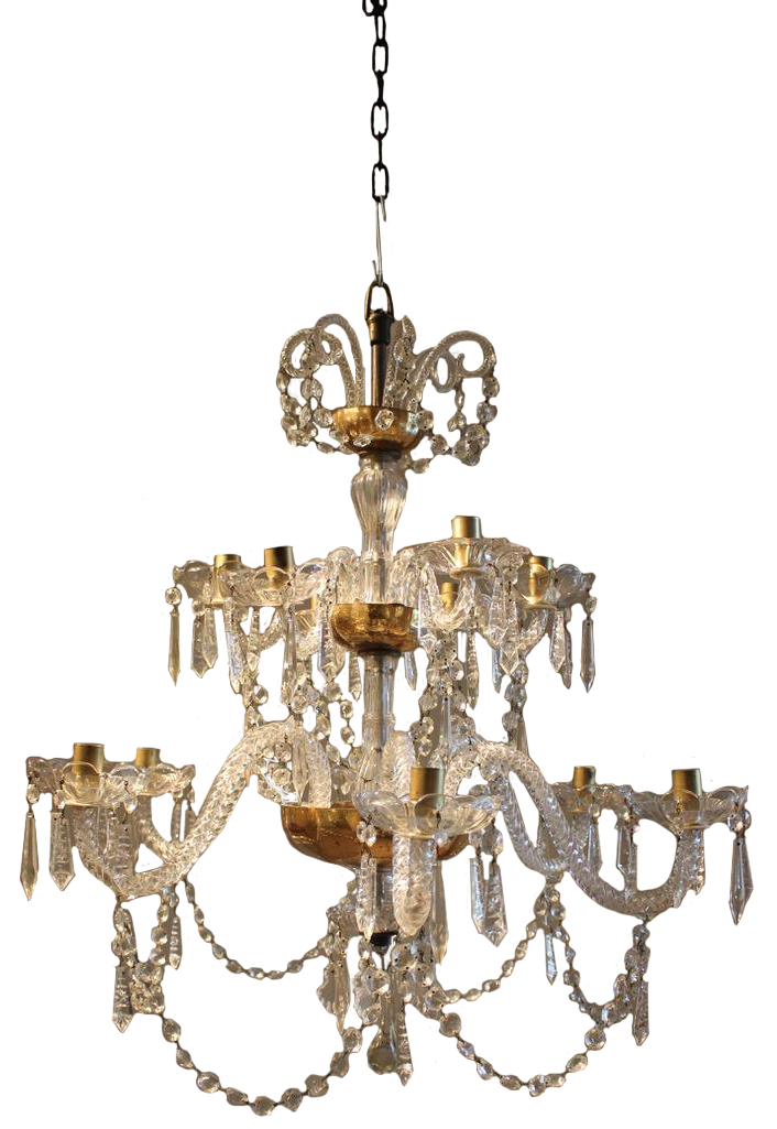 19th Century Spanish 12 Arm Glass Chandelier