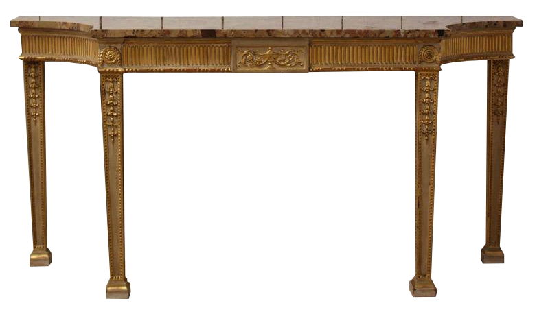 A 1920s George III Style White Painted and Parcel Gilt Console Table