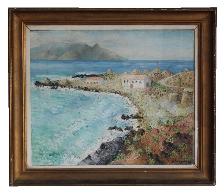 A coastal Peninsula with Buildings, Oil on Canvas