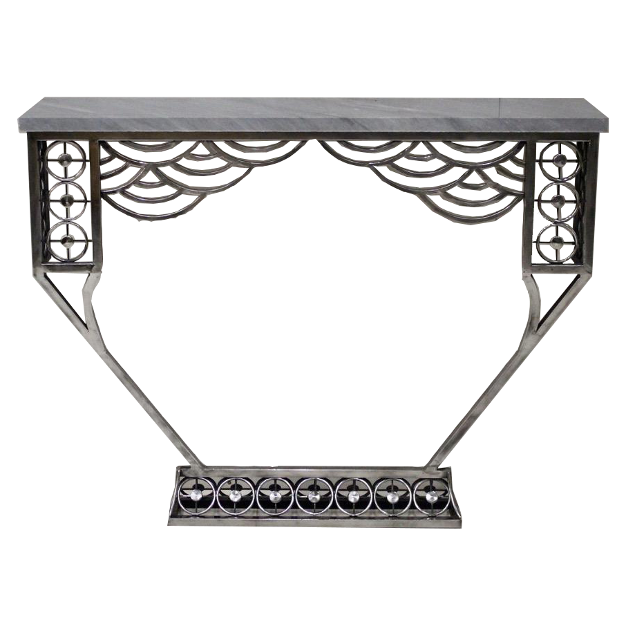 A very Stylish Cubist Influenced Polished Steel Console Table