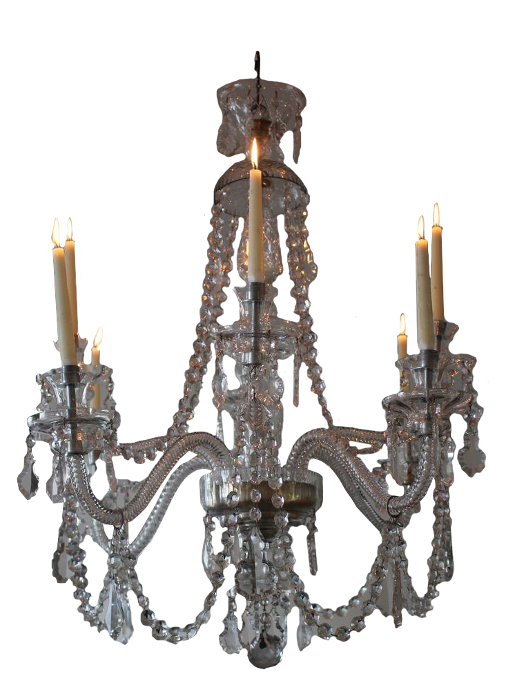 Beautiful 1940s Spanish Eight Arm Glass Chandelier