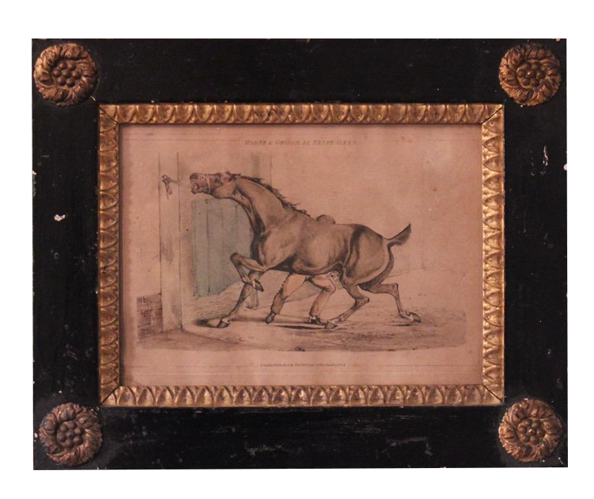 """C19th English """" Horse and Groom"""" engraving in a Period Frame"""