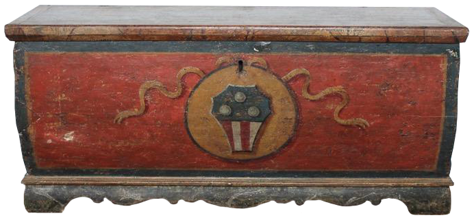 Early 18th Century Tuscan Painted Chest in Original Paint