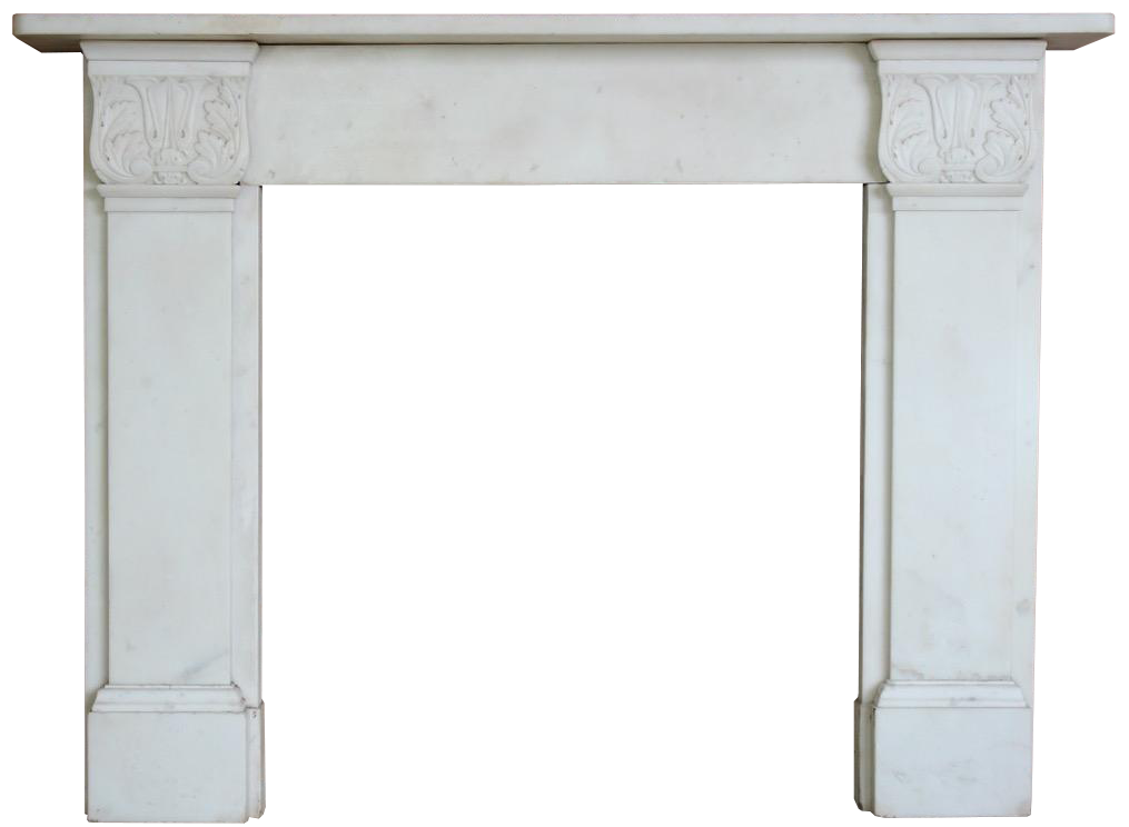 Early 19th Cent English Regency Period White Marble Fireplace