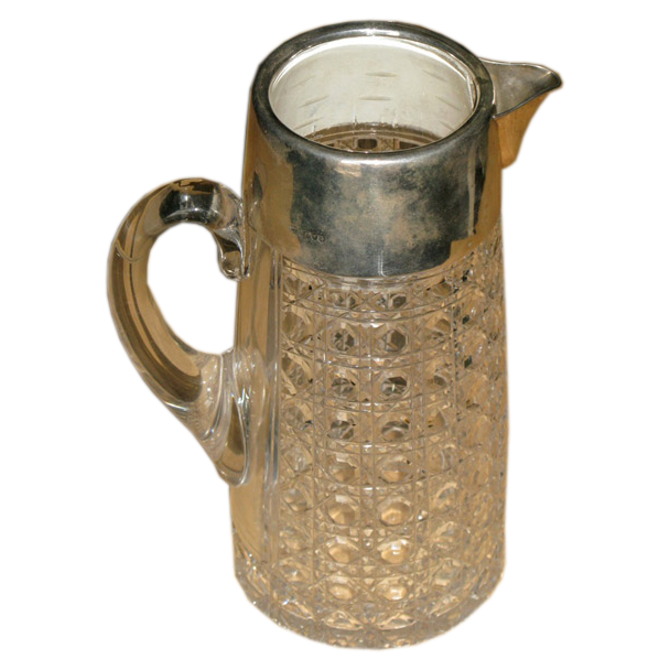 Early 20th cent  Silver and Cut Glass Water Jug