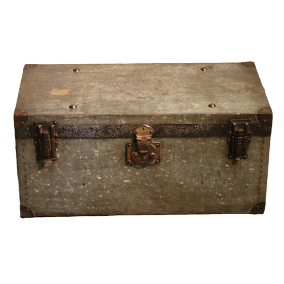 Early C20th Rare Galvanised Campaign Chest / Trunk