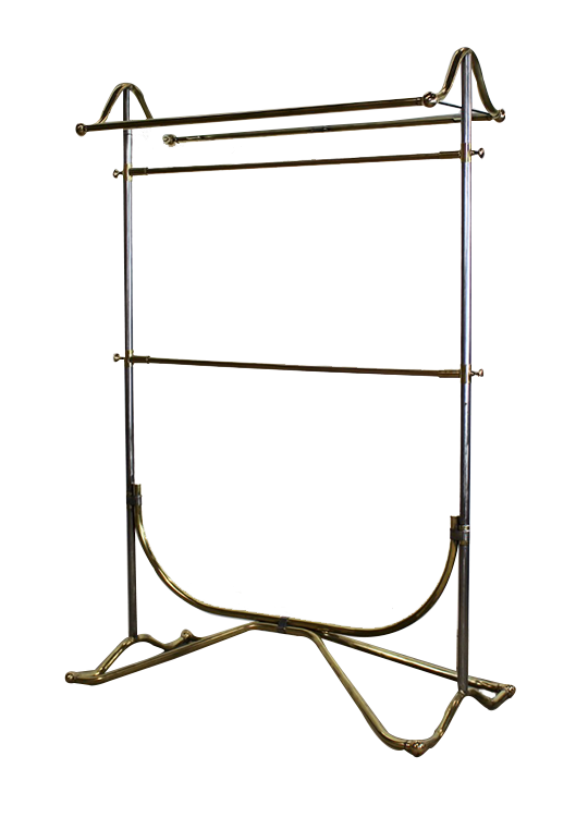 Fantastic Quality Clothes Rack in Polished brass and steel  Mid 20th Cent
