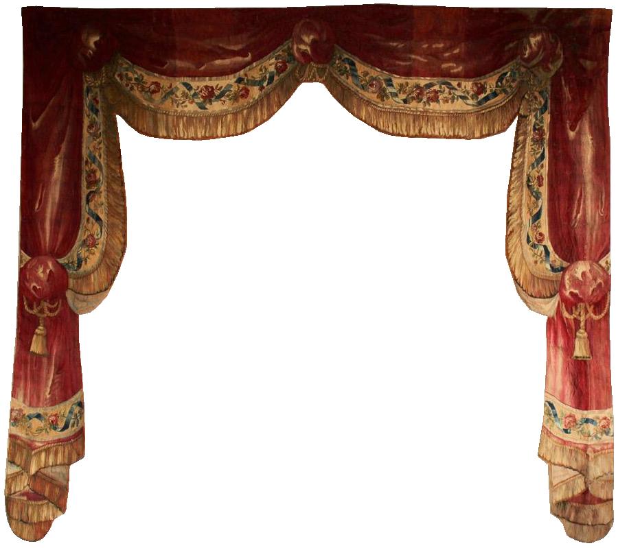 Fine 18th Century Tapestry Drape Trompe L'oeil Decoration