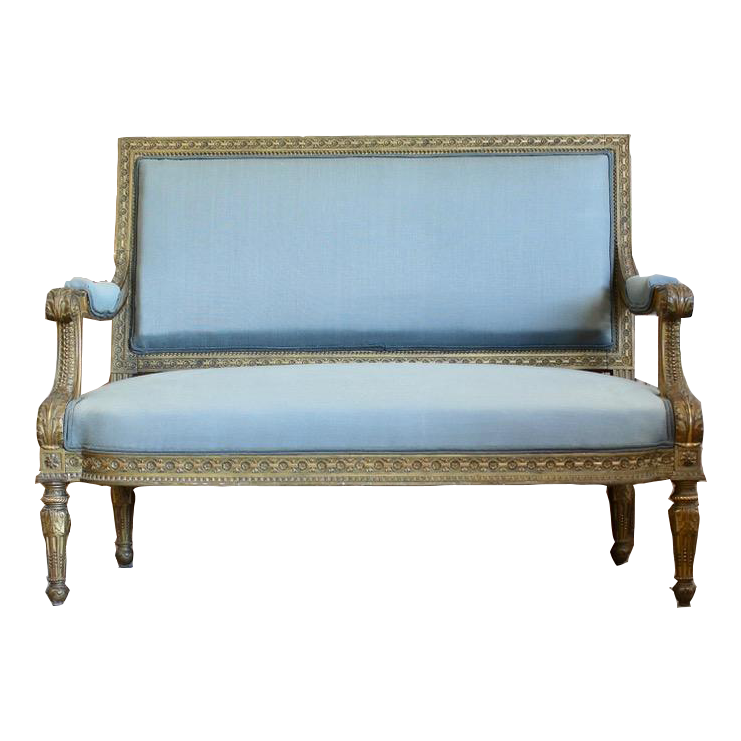 Fine 19th Cent French Gilded Settee