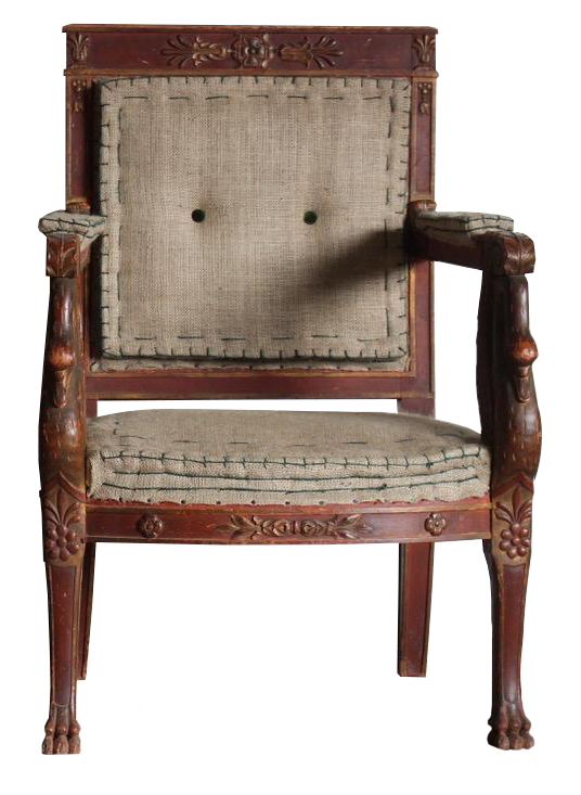 Fine Pair of Early 19th Cent French Painted and Gilt Library Armchairs
