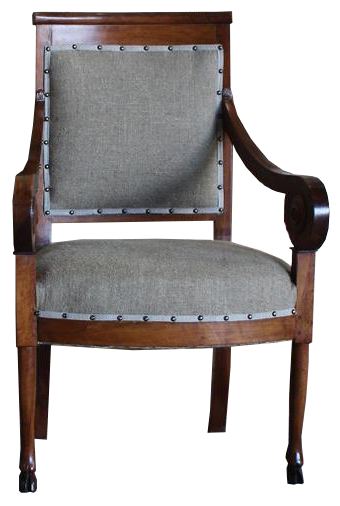 Fine Pair of Early 19th Cent French Walnut Fauteuils/ Desk Chairs