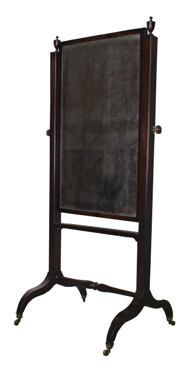 Fine Quality Early 19th Cent English Cheval Mirror