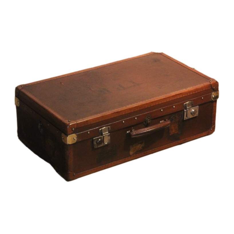French Circa 1920s Brass Pinned Leather Suitcase