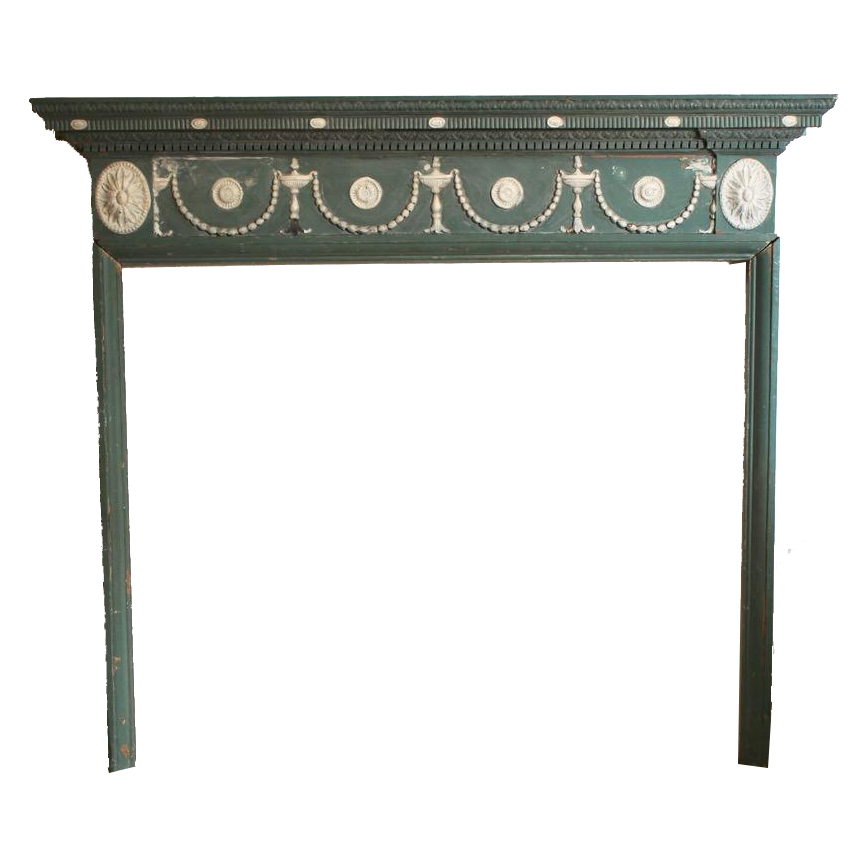 George III English Green and White painted Pine & Gesso Moulded Fire Surround