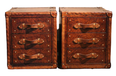 Great Pair of Bespoke Leather Chest of Drawers