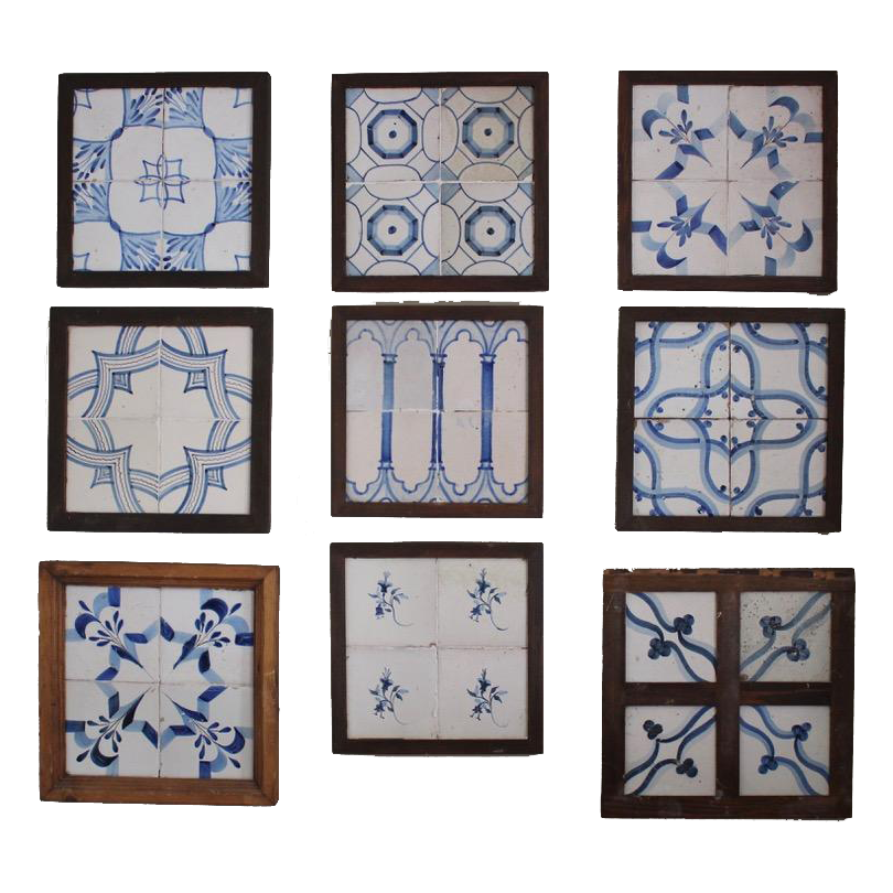 Group of 9 , Late 18th and 19th century Spanish Framed tiles