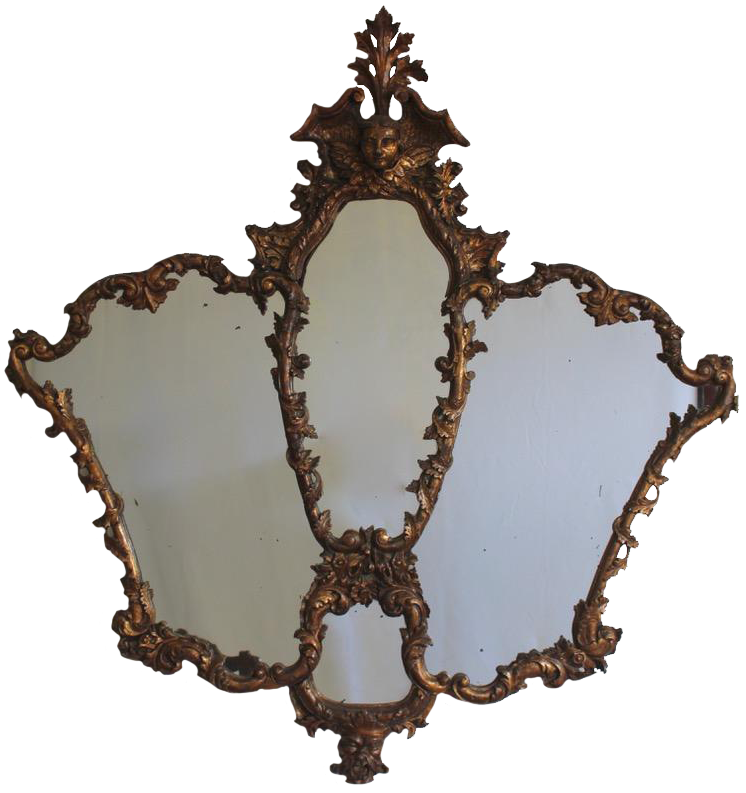 Large 18th Century Italian Carved and Gilded Wooden Mirror