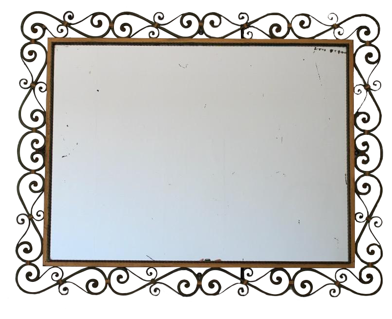 Large 1920s French Metal and Gilded Mirror