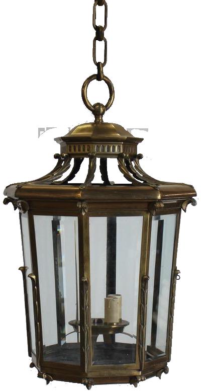 Large 1950s Classical Gilt Bronze Lantern