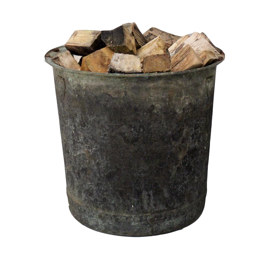 Large 19th cent Patinated Copper Log Bin / Planter