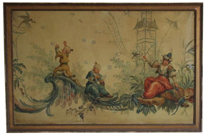 Large 19th century French Oil on Canvas Chinoiserie Scene in the taste of Jean Pillement
