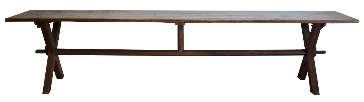 Large 19th Century Pine X Frame Refectory Table with the original Colour Wash