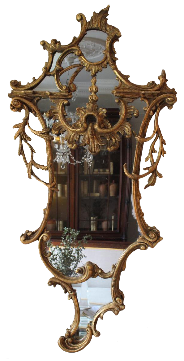 Large C19th English Country House Gilded Mirror in the Chippendale Taste