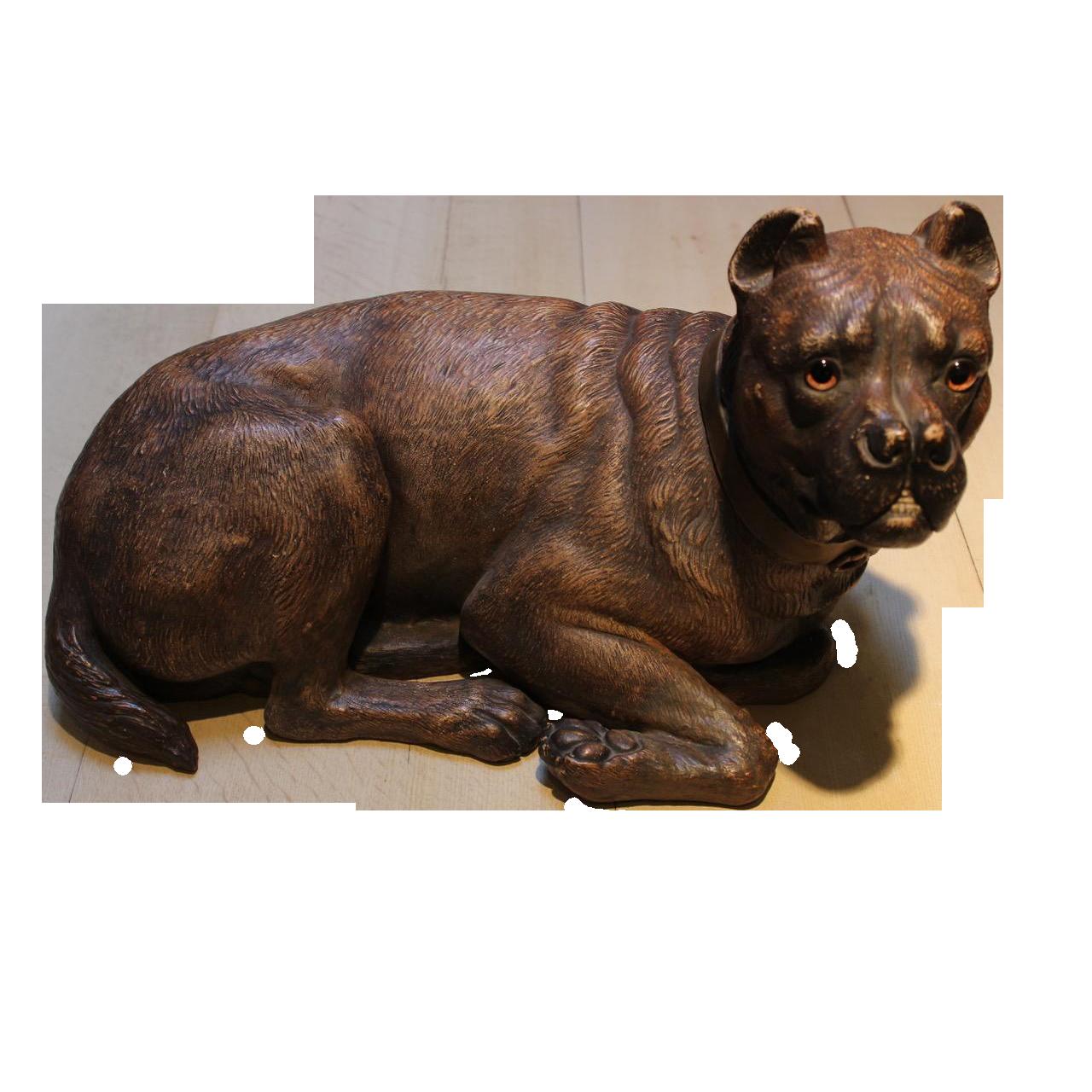 Large Circa 1900 Austrian Terracotta Model of Dog