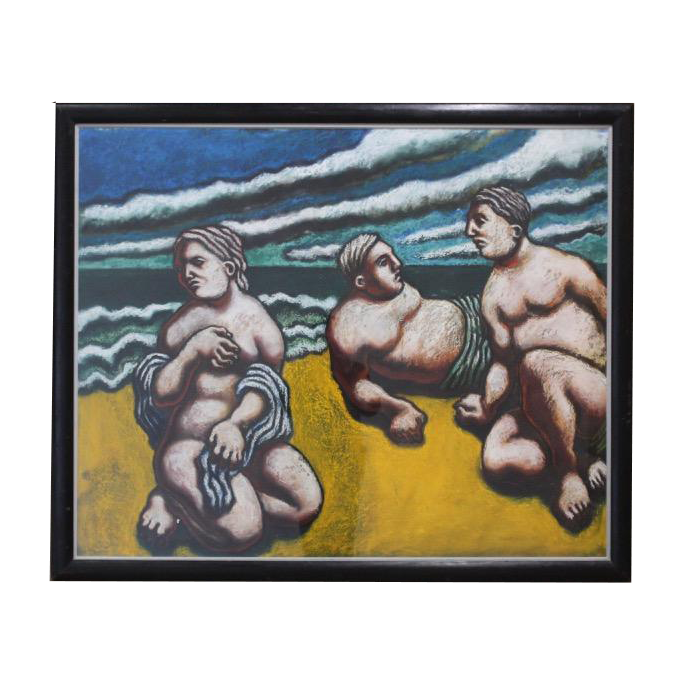 Large Circa 1990 Oil on Board Painting