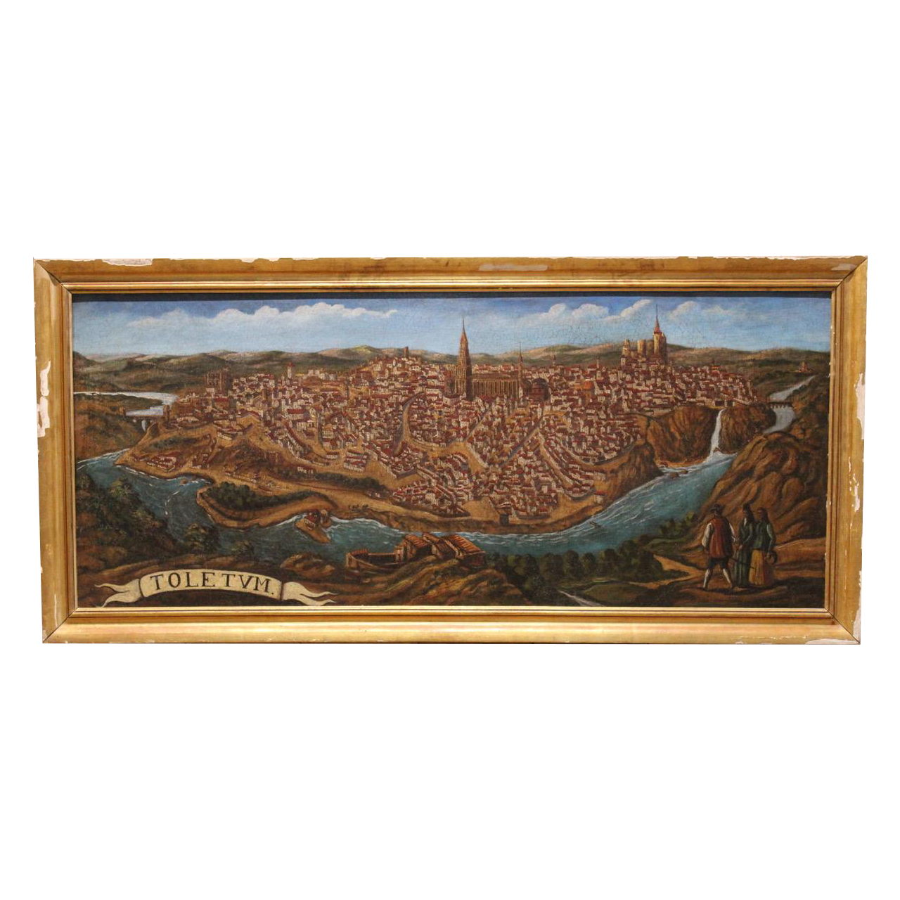Large, Late 19th/ Early 20th cent Spanish Painting of Toledo