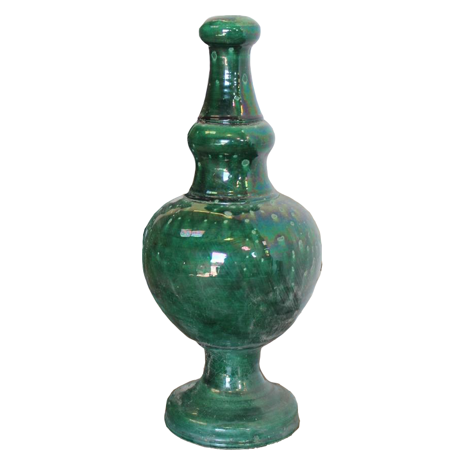 Large Pair of 1960s Spanish Glazed Finials from the South of Spain
