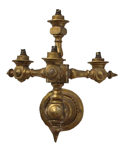 Large Pair of Early 20th Cent Italian Carved Gilt wood Wall Lights