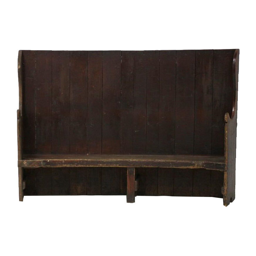Late 18th Cent Painted Rustic Curved Spanish Settle