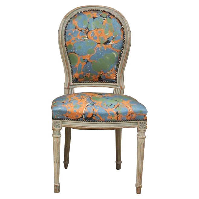 Lovely Pair of Early 20th Cent French  Painted Occasional Chairs