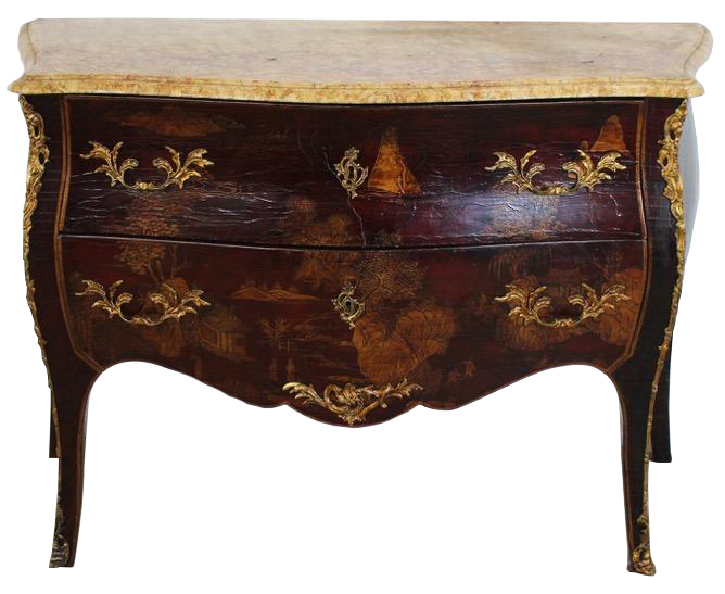 Mid 20th Century Chinoiserie Marble Top Commode