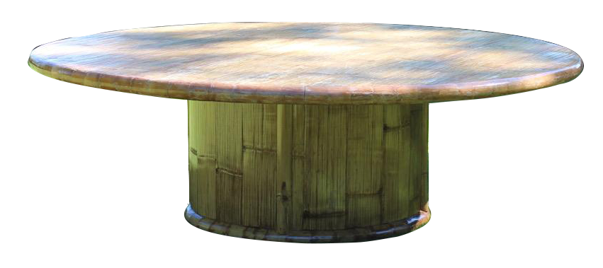 1970s/80s  Large Round Bamboo Dining Table