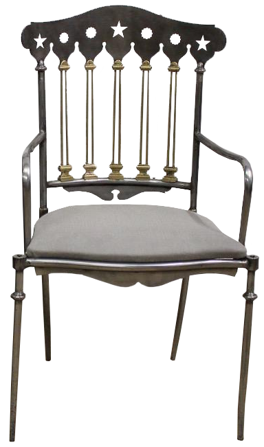 Outstanding Set of 12 Spanish Steel and Brass Dining Chairs