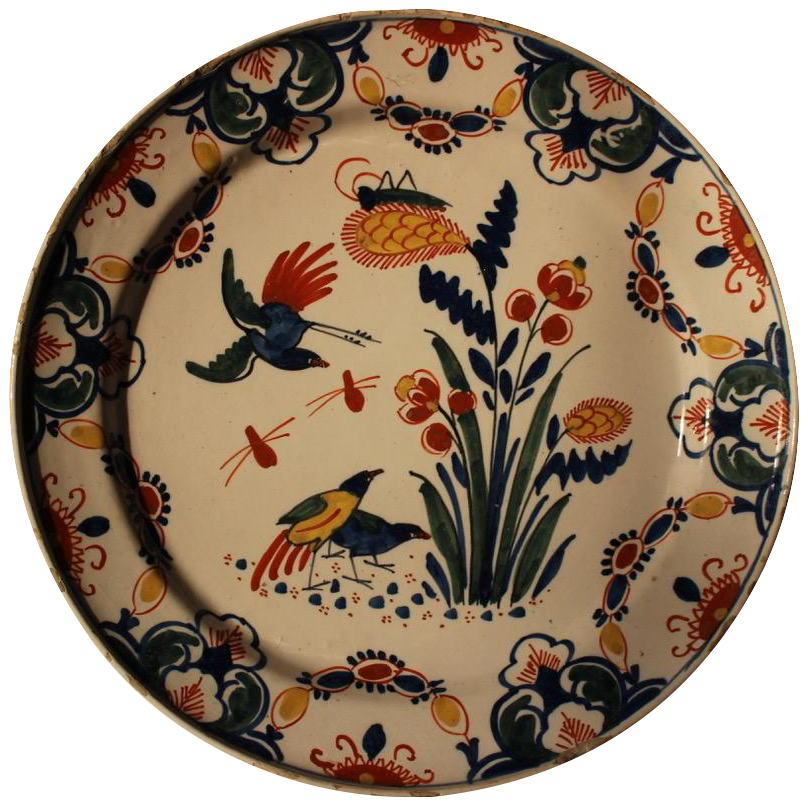 Pair of 18th Century Delft Polychrome Pottery Plates
