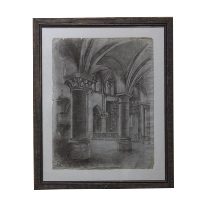 Pair of Architectural Chalk Drawings Dated 1916