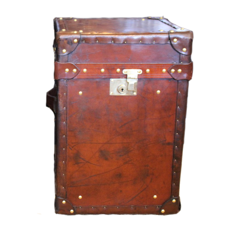 Pair of Bespoke Antique Leather Trunks / Occasional Tables