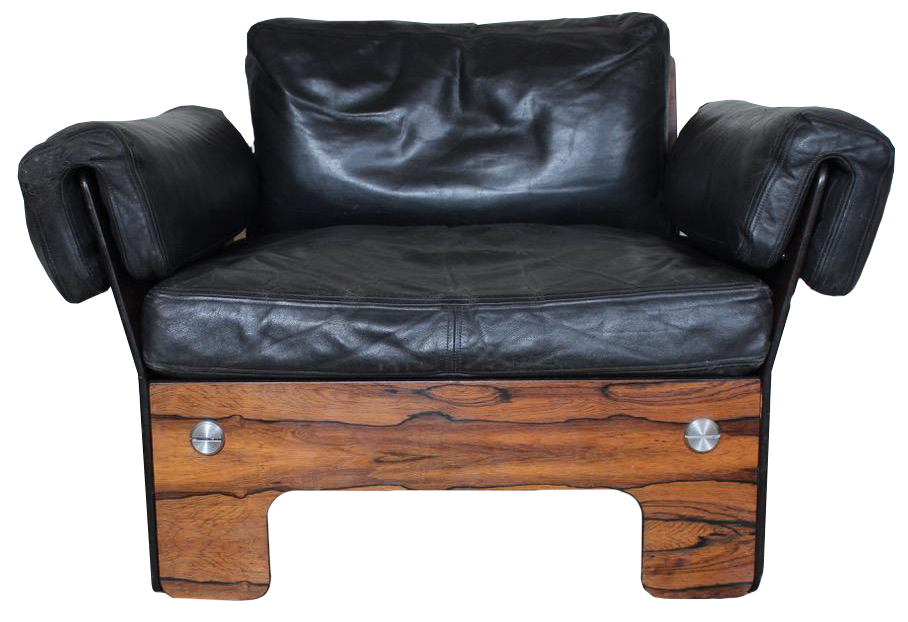 Superb 1960s/70s Leather and Rosewood Armchair