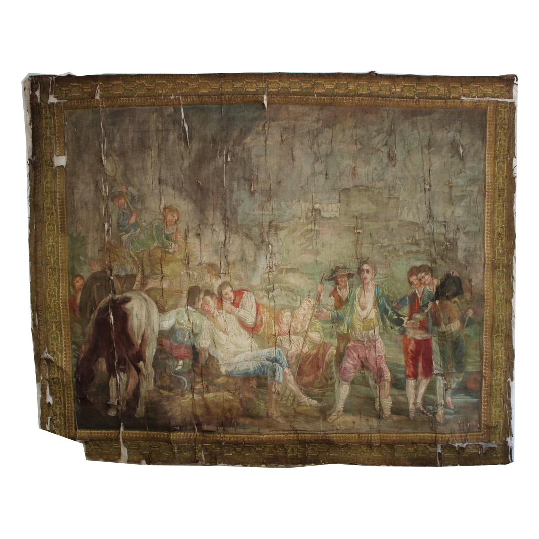 Superb 19th century French Painted Canvas