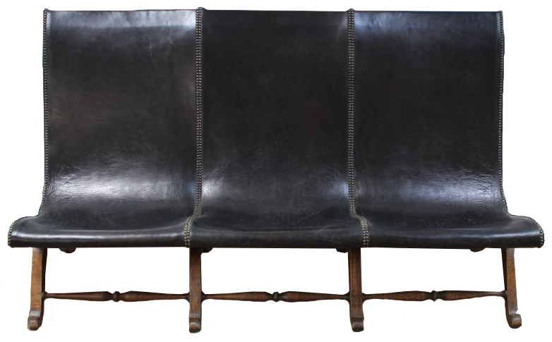 Superb and Comfortable Pair of 1960s Spanish Leather Sofas/ Benches