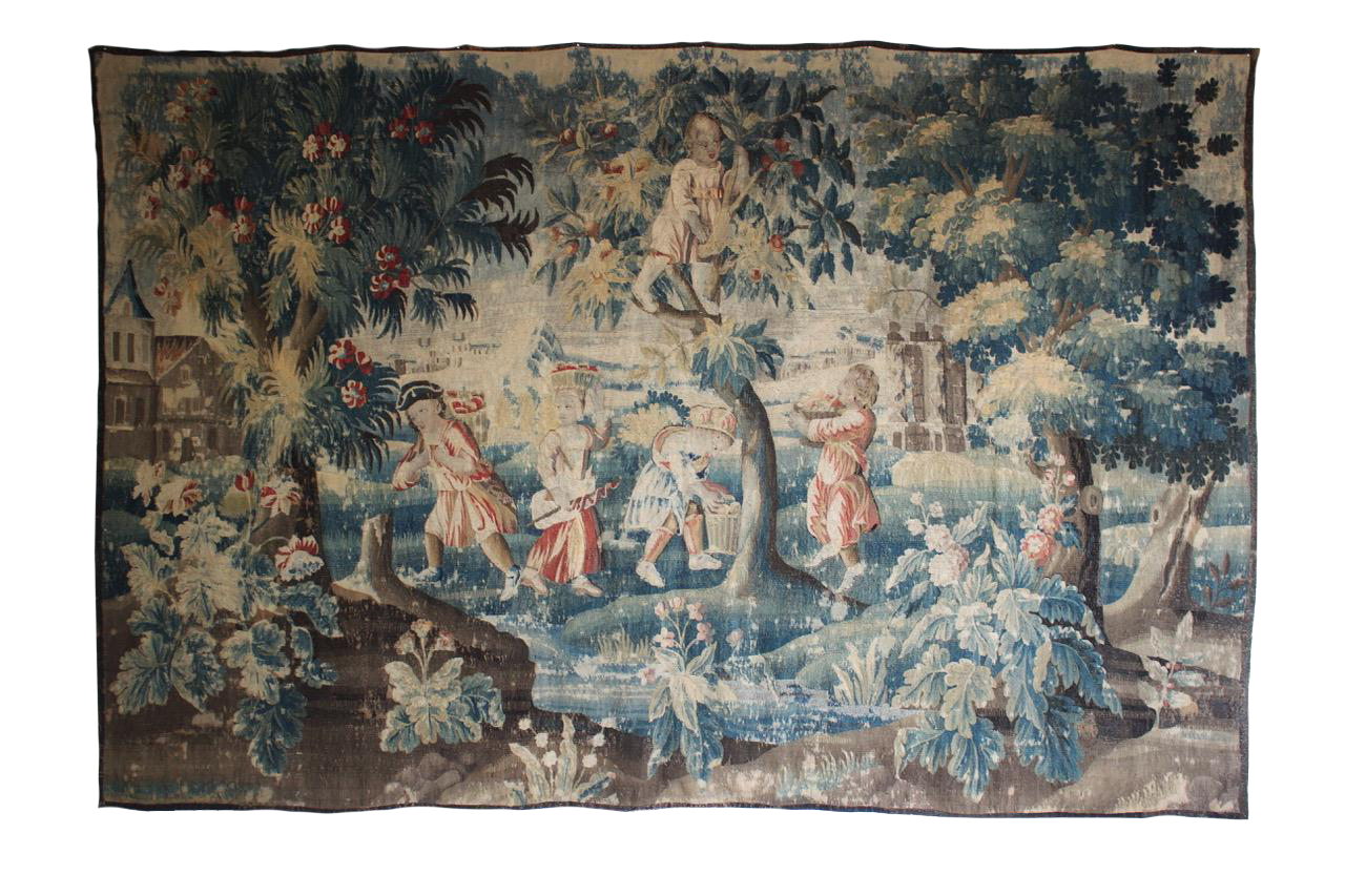 """""""The little Gardeners """" Large 18th Century Aubusson Tapestry"""